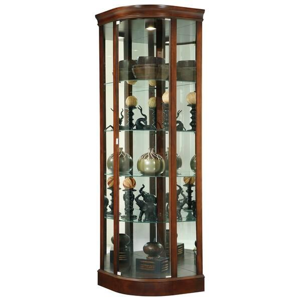 Howard Miller Marlowe Elegant, Contemporary, and Sleek, Medium Brown Wood,  Tall, 5-Shelf Living Room Corner Curio Cabinet