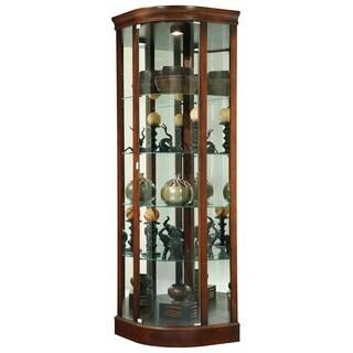Howard Miller Marlowe Medium Brown Wood Elegant Contemporary Sleek Tall 5-shelf Living Room Corner Curio Cabinet