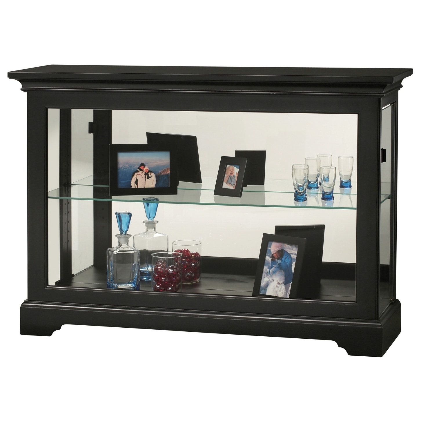 Howard Miller Underhill Ii Rich Black Wood 2 Shelf Living Room Curio Cabinet