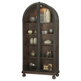 Howard Miller Naomi Modern Rustic Rich Aged Wood Tall 5-shelf Living Room Curio Cabinet with Dome Top