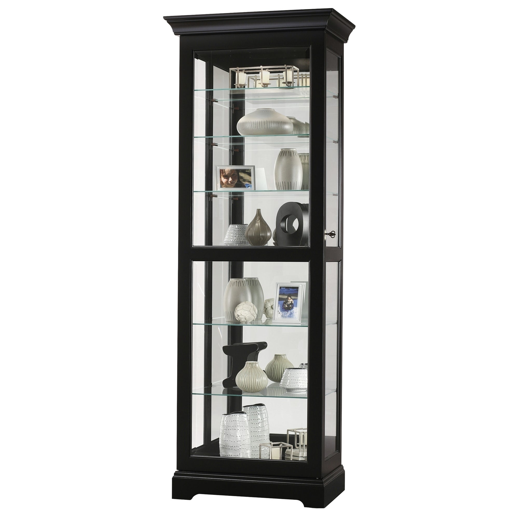 Howard Miller Martindale Iii Rich Black Wood Tall 7 Shelf Living Room Curio Cabinet