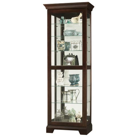Howard Miller Martindale II Contemporary Modern, Transitional, Rich Dark Solid Wood, Tall, 7-Shelf Living Room Curio Cabinet