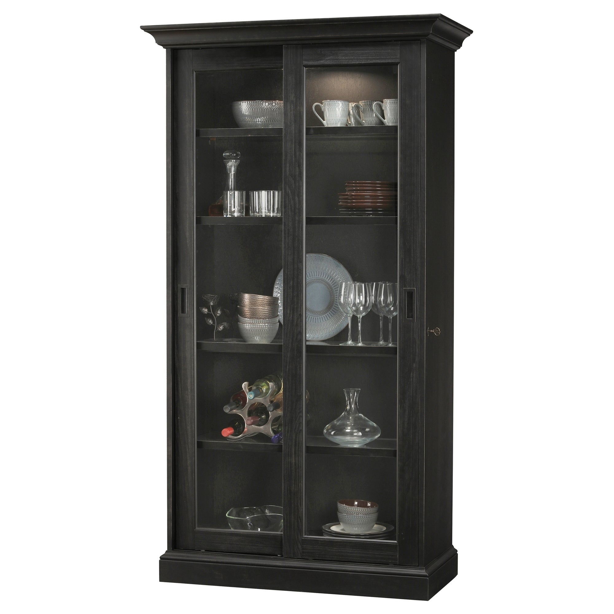 Howard Miller Meisha IV Aged Black Wood Tall 5-shelf Living Room Curio  Cabinet with Slider Doors