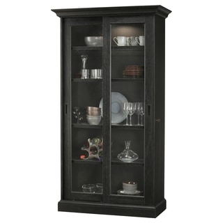 Howard Miller Meisha IV Aged Black Wood Tall 5-shelf Living Room Curio Cabinet with Slider Doors