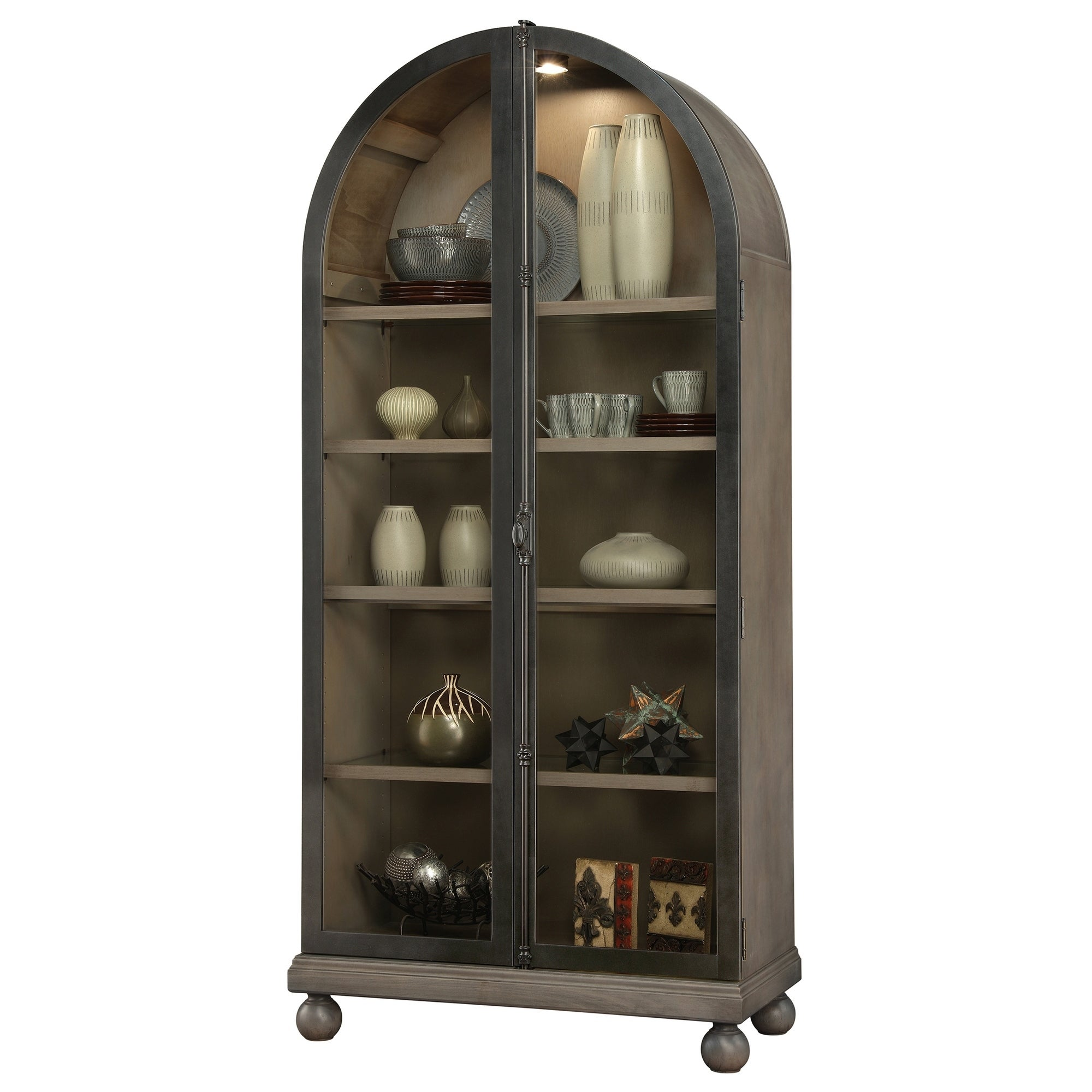 Howard Miller Naomi Ii Rich Aged Hardwood Arched Top Curio Cabinet 84 Inches High X 39 5 Inches Wide X 18 Inches Deep Overstock 23449405