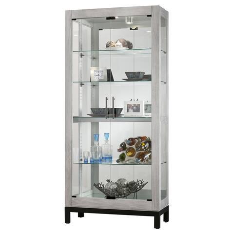 Howard Miller Quinn II Silver Solid Wood 5-shelf Curio Cabinet - 78.75 inches high x 35.75 x 15.5 inches deep