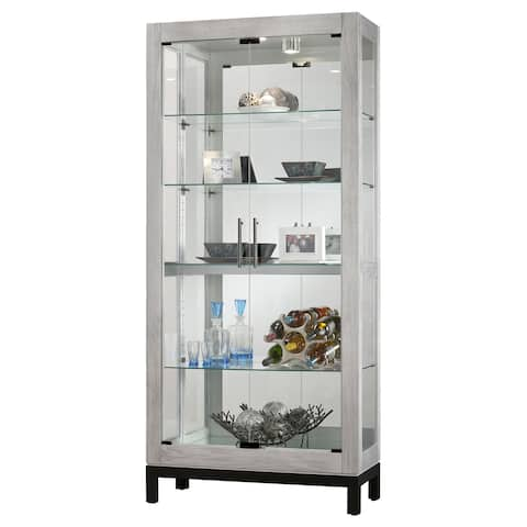 Howard Miller Quinn II Contemporary Industrial, Beachy, Burnished Silver Solid Wood, Tall, 5-Shelf Living Room Curio Cabinet