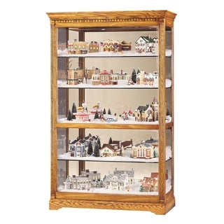 Howard Miller Parkview Contemporary Modern, Light Brown Solid Wood, Tall, 5-Shelf Living Room Curio Cabinet