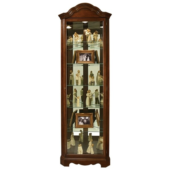 Howard Miller Murphy Brown Wood Tall 6 Shelf Living Room Curio Cabinet With Shaped Crown Free Shipping Today 23449411