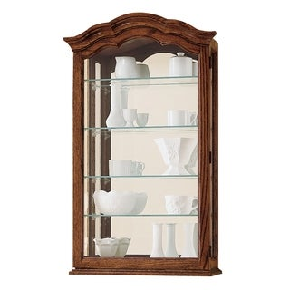 Howard Miller Vancouver II Contemporary Farmhouse, Transitional, Medium Brown Wood, 5-Shelf, Curio Wall Cabinet Shaped Crown