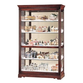 Howard Miller Townsend Contemporary, Modern, Transitional, Rich Cherry Wood Finish, Tall, 5-Shelf Living Room Curio Cabinet