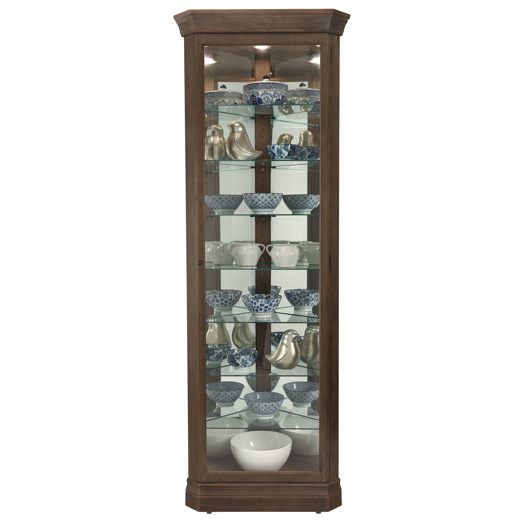 Howard Miller Delia Brown Veneer/Glass 8-shelf Tall Corner Living Room  Curio Cabinet