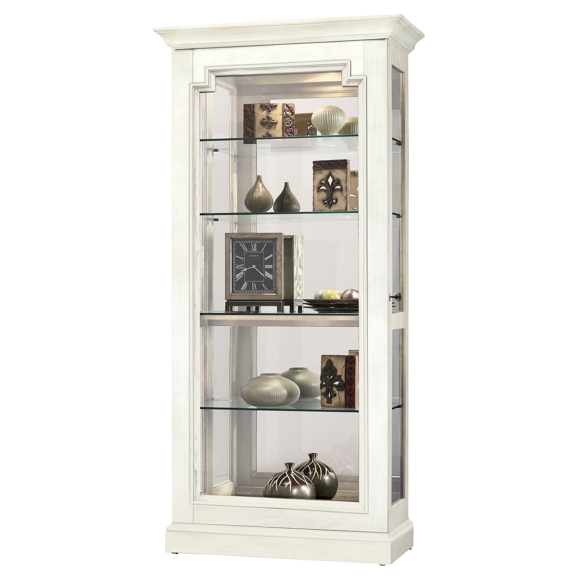 Sliding Door Curio Cabinet Including Display Light 5 Adjustable Shelf Walnut