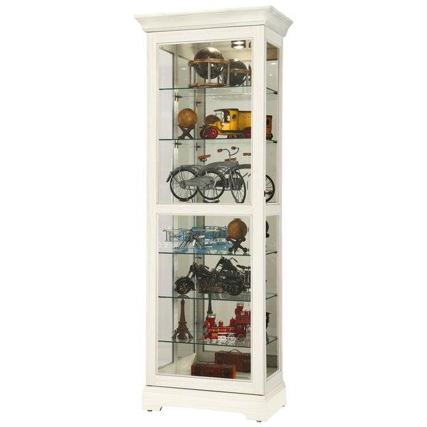 Howard Miller Martindale V White Solid Wood Tall 7 Shelf Living Room Curio Cabinet