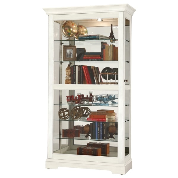 Howard Miller Tyler Iv White Wood Gl Large Tall 7 Shelf Living Room Curio Cabinet Free Shipping Today 23449435