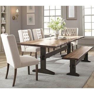 Hand-Crafted Live Edge Design Dining Set with Wing Back Button Tufted Chairs