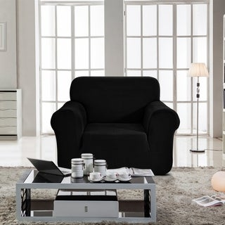 Enova Home Jacquard Polyester Spandex Fabric Box Cushion Armchair Slipcover - N/A