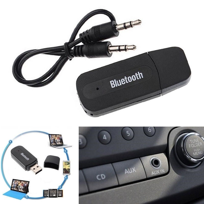 Wireless Bluetooth 3.5mm AUX Audio Stereo Music Home Car Receiver Adapter Mic -  Overstock