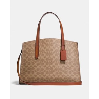 Coach Charlie Carryall In Signature Canvas Beige/Rust