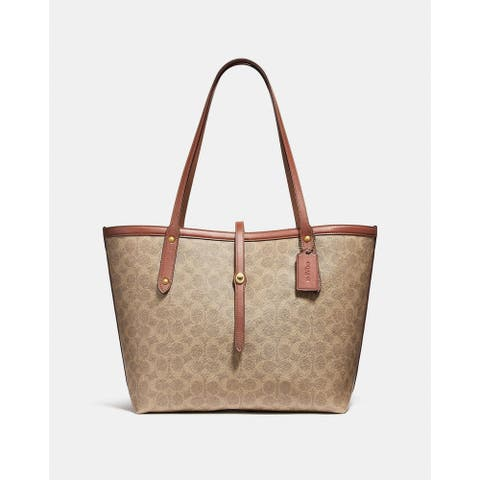 Coach Market Tote In Signatur Canvas Tan Rust