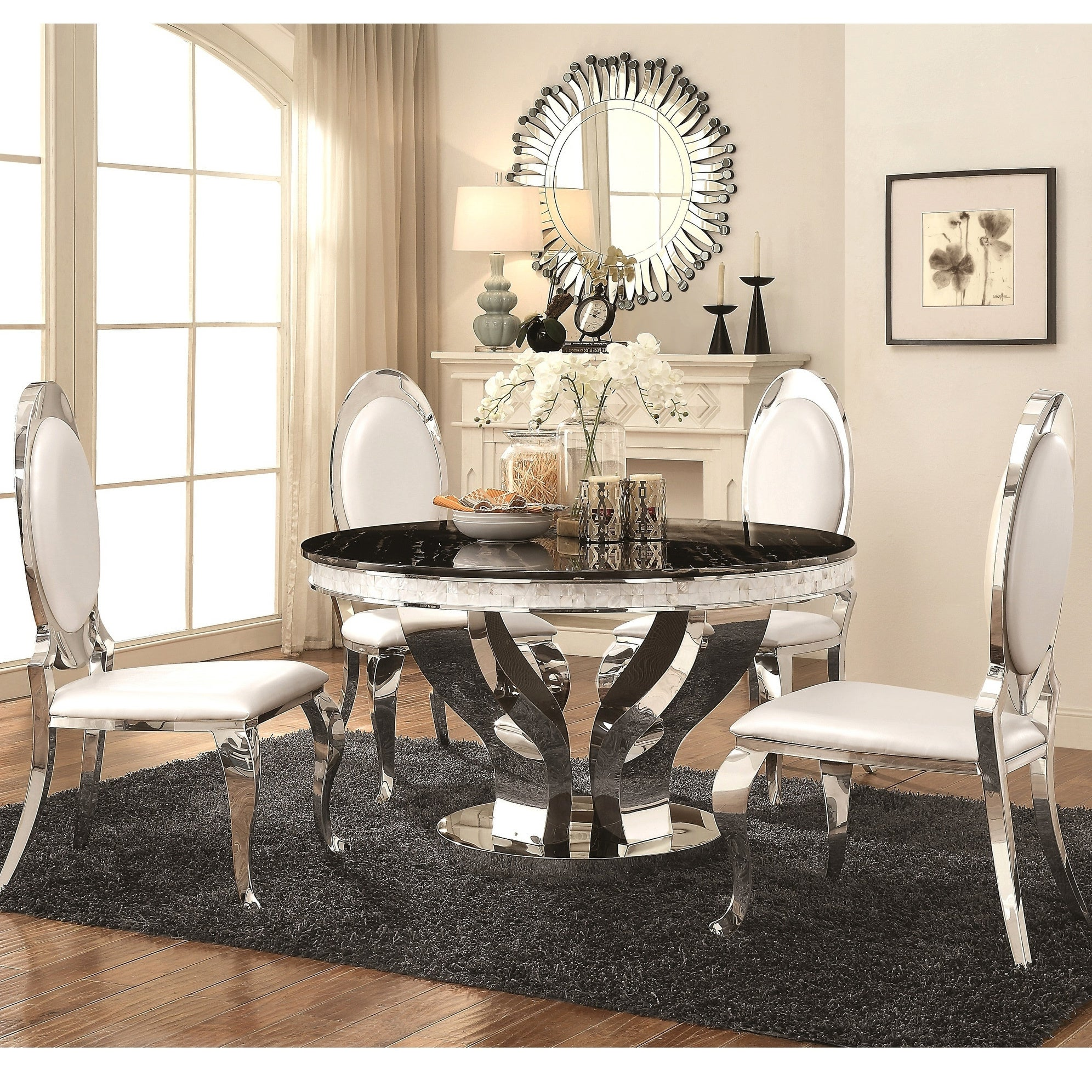 Luxurious Modern Design Round Stainless Steel Dining Set With Marble Table Top Overstock 23449862