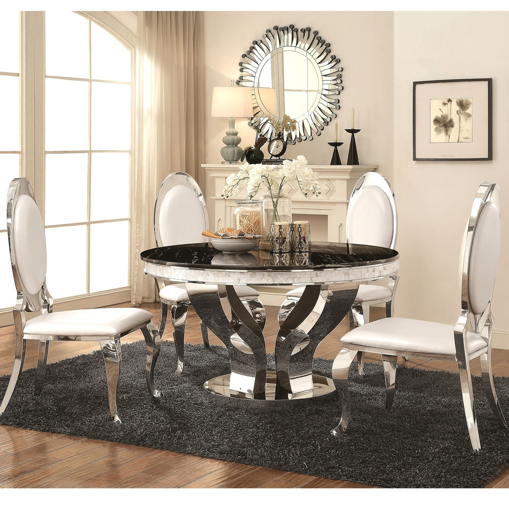 Luxurious Modern Design Round Stainless Steel Dining Set with Marble Table Top