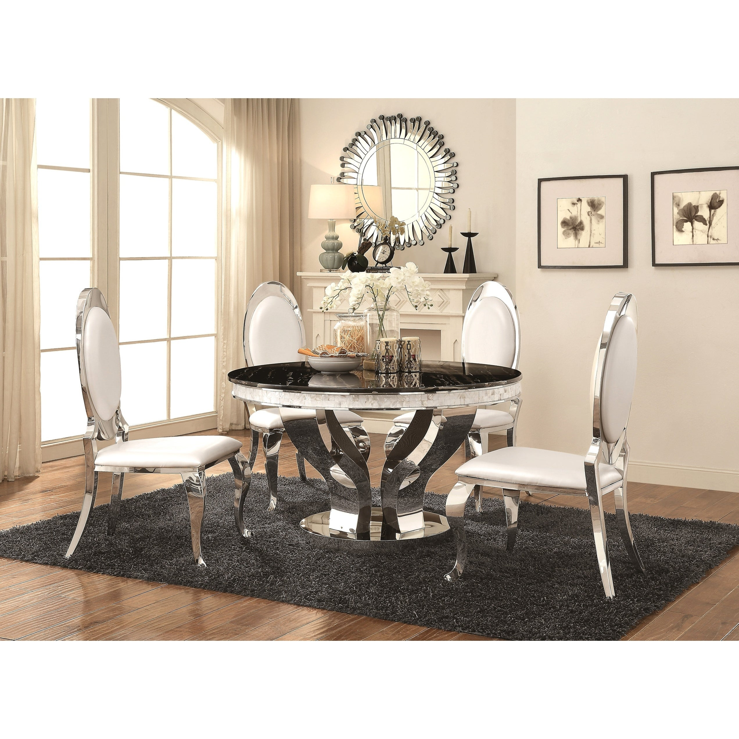 Marvelous Luxurious Modern Design Round Stainless Steel Dining Set With Marble Table Top Home Remodeling Inspirations Genioncuboardxyz