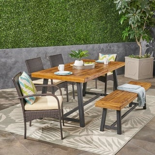 Tara Outdoor 6 Piece Wood and Wicker Dining Set with Chairs and Bench  by Christopher Knight Home