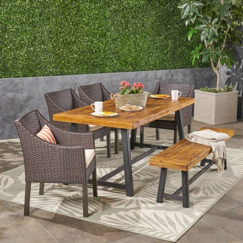 Calero Outdoor 6 Piece Wood and Wicker Dining Set with Chairs and Bench by Christopher Knight Home