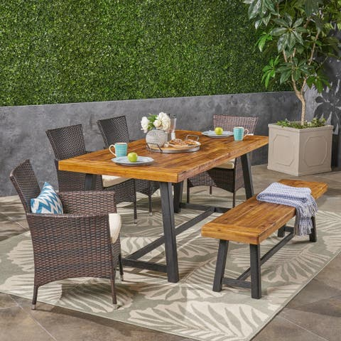 Boden Outdoor 6 Piece Wood and Wicker Dining Set with Chairs and Bench by Christopher Knight Home