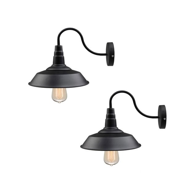 Lnc 2 Pack Black Gooseneck Wall Sconces Barn Warehouse Lights