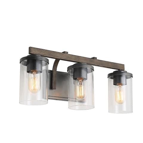 "LNC Antique Metal 3-Light Vanity Light Bathroom Wall Sconces - W20""x H8.7""x E6.3"""