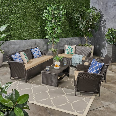 St. Lucia Outdoor 7 Seater Wicker Chat Set by Christopher Knight Home