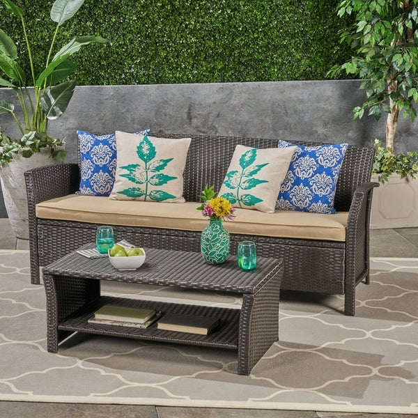 Shop St. Lucia Outdoor 3-Seater Wicker Sofa with Coffee ...