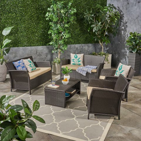 St. Lucia Outdoor 6 Seater Wicker Chat Set by Christopher Knight Home