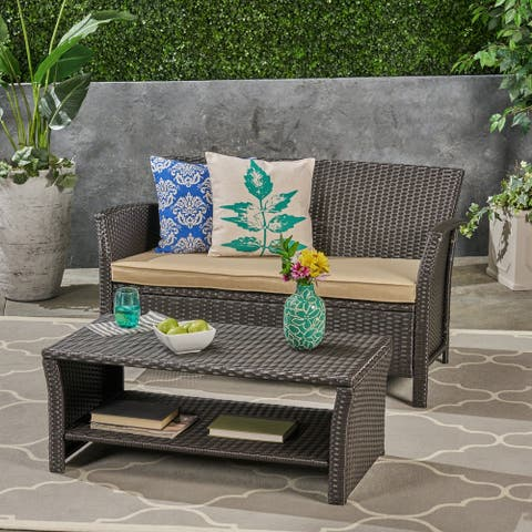 St. Lucia Outdoor Wicker Loveseat with Coffee Table by Christopher Knight Home