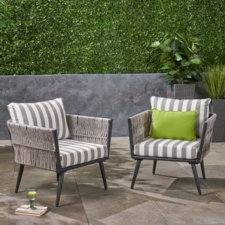 Oceanus Outdoor Wicker Club Chairs (Set of 2) by Christopher Knight Home