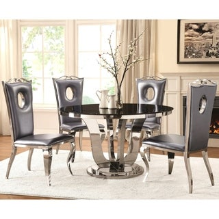 Modern Design Round Stainless Steel Dining Set with Black Tempered Glass Table Top