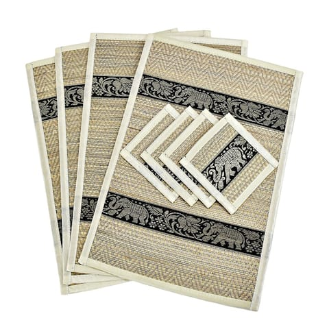 Handmade Set of 4 Mighty Elephant Silk Trim Reed Placemats and Coasters (Thailand)