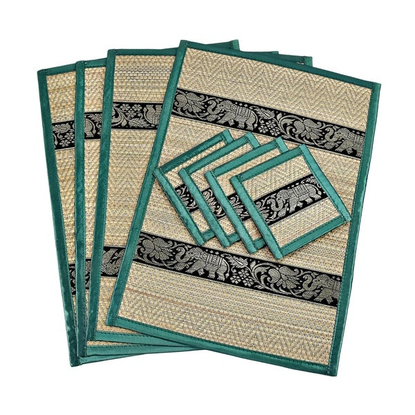 Set of 4 Mighty Elephant Silk Trim Reed Placemats and Coasters (Thailand)