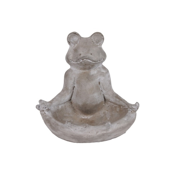 Meditating Frog Figurine In Gyan Position With Candle Holder, Gray