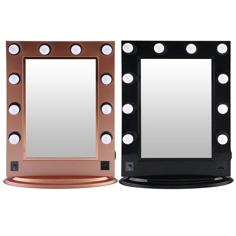 Aluminum Tabletop Makeup Mirror With Bright LED Light Bulbs