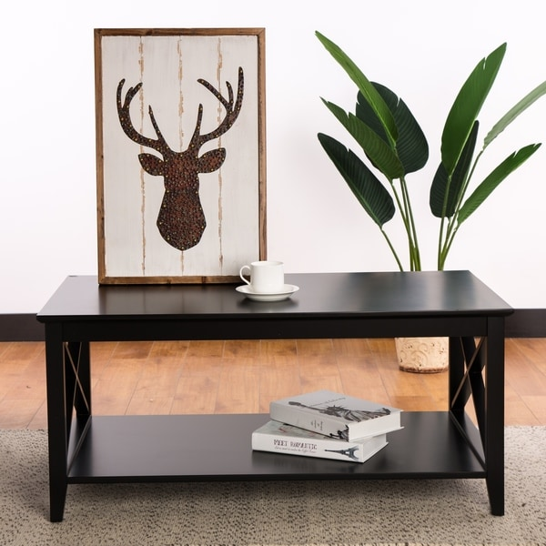 Glitzhome Traditional Espresso X Frame Coffee Table/End Table