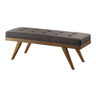 Wood Bench With a Tufted Seat, Dark Gray