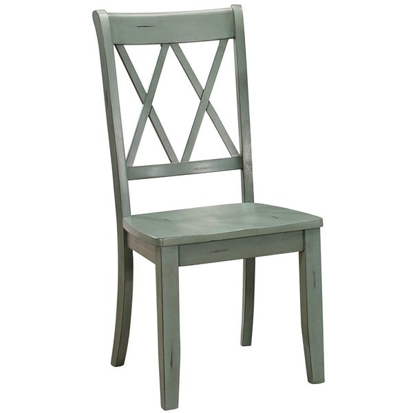 Pine Veneer Side Chair With Double X Cross Back Teal Blue Set Of 2 On Free Shipping Today 23459081