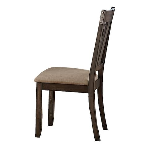 Wood Side Chair With Slightly Flared Back Legs, Brown, Set of 2