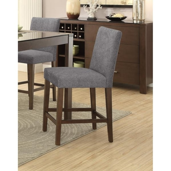 Surprising Wood Counter Height Chairs With Footrests Set Of 2 Brown Gray Inzonedesignstudio Interior Chair Design Inzonedesignstudiocom