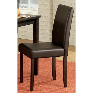 Leather Upholstered Wooden Side Chair, Espresso Brown, Set of 4