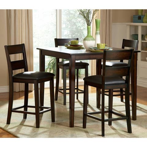 5 Piece Wooden CoUnter Height Table Set, Espresso Brown