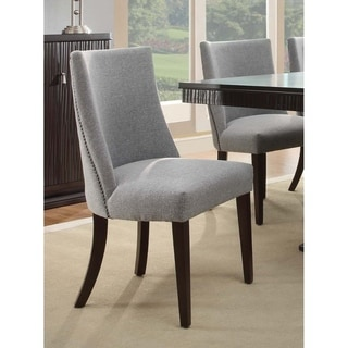 Fabric Upholstered Wooden Accent Side Chair, Gray & Brown, Set of 2